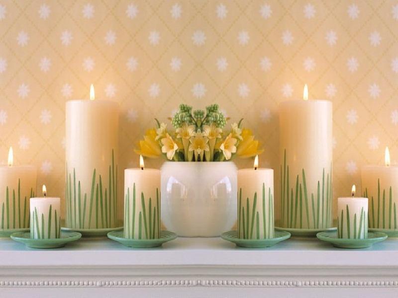 تزئین شمع با برگ سبز