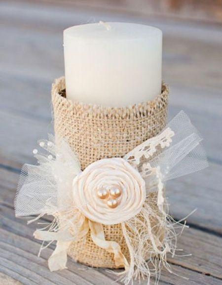 تزئین شمع با پارچه های متفاوت